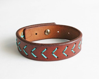 Leather bracelet Leather wristband Leather accessories Handstitched bracelet