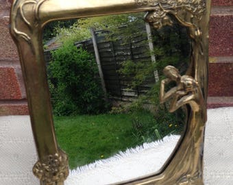 Vintage Art deco Solid brass mirror with stand.Collectable brassware/vanity mirror/make up mirror/dressing table mirror.