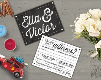 Digital Wedding RSVP Card | Chalkboard RSVP | Printable | Customizable