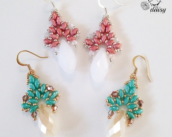 Crystal drop earrings and pink crystal earrings with turquoise-superduo tear and superduo pink turquoise