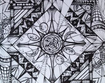 Cassidy Original Art Print Black and White Pen & Ink Artwork Grateful Dead Art Geometric Art Symmetrical Art Linework Design