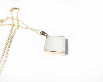 Rose Quartz necklace (24k Gold Plated Edged Rimming)