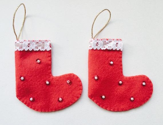 Mini Red Felt Christmas Stocking - Handmade Christmas Decorations