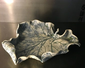 Leaf bowl lots of detail porcelain fruit bowl signed