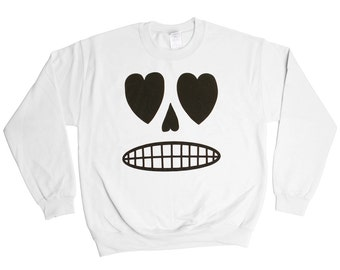 Sugar Skull Sweatshirt - Skeleton Bones Heart Smiley Face Sweater - Mens Womens - Holiday Sweater Pullover Oversize Sweat Shirt Top