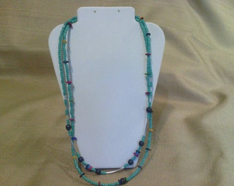 215 Turquoise Colored Seed Bead Necklace with Mother of Pearl Accent Beads Beaded Necklace