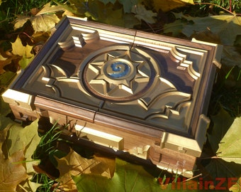 Premium HS Box In Stock Replica Wooden Jewelry Casket Solid Walnut Wood Hearthstone Card Game Warcraft Blizzard Witchwood