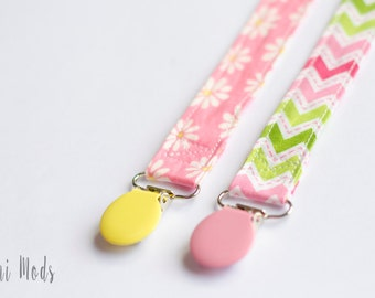 Set of 2 Trendy Pacifier, Dummy Clip. Pacifier Holder, Dummy Clip, Baby Gift, No More Lost or Dropped Pacificers/Dummies, Teether Clip, UK