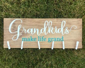 Grandkids Make Life GrandSign/White/Turquoise/Grandchildren/Grandparents Gift/Photo Display/Grandma Gift/Grandpa Gift/Pregnancy Reveal