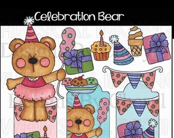 Celebration Bear clip art to make planner stickers personal or commercial use ok