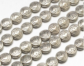 50pcs Antique Silver Heart Disc Spacer Beads Tibetan Style 6.5x3mm Hole 1mm (B071)