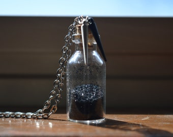 Black Glitter Bottle Necklace