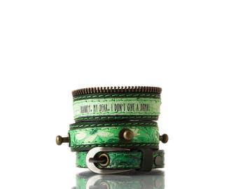 Colours of Life - Green Flower Bracelet | 3 In 1, Handmade, Genuine Leather, Bracelet, Print, Quote, Green