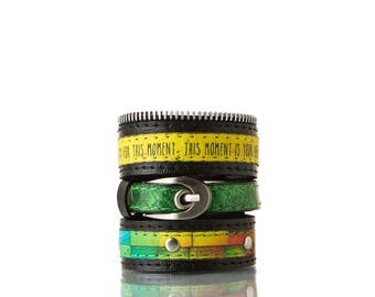 Colours of Life - Disco Bracelet | 3 In 1, Handmade, Genuine Leather, Bracelet, Print, Quote, Black, Yellow, Green
