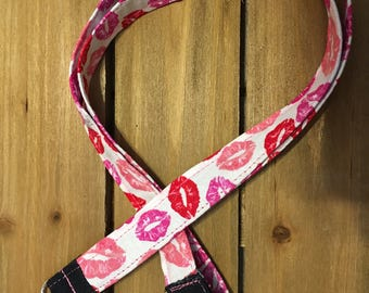 Key Lanyard/Id Badge Holder/Keychain made from a Lipstick Kissed Themed Print.