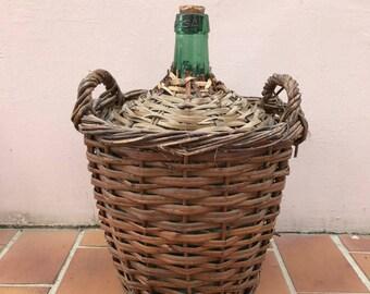 """Old French GreenGlass """"Bonbonne"""" Wine Bottle wicker 26041711"""