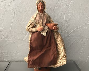 "Vintage French Terracotta Dressed Santon From Provence Signed ""Jouglas"" 0605171"
