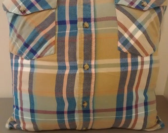 upcycled flannel shirt pillows