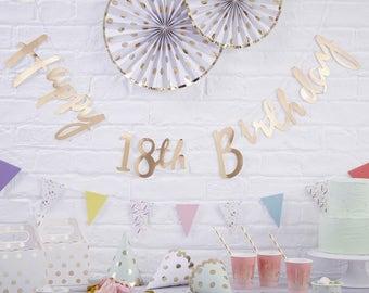 Gold Happy 18th Birthday Bunting | 18th Birthday Party Decor