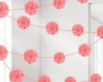 Pink Pom Pom Garland - 3.7m x 2 pieces | Princess Party | Girls Baby Shower