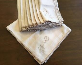 "9 monogrammed ""P"" table napkins."
