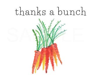 Thank You Cards - Instant Download - Thanks A Bunch - Watercolor - printedlotus