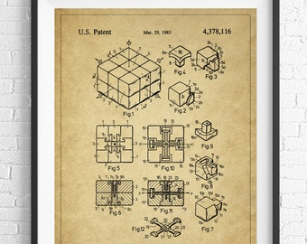 Rubiks Cube Patent Print, Game Room Art, Toy Art, Rubiks Cube Art, Blueprint, Vintage Patent Poster, Geek Gifts, Nerd Gifts, Office Art