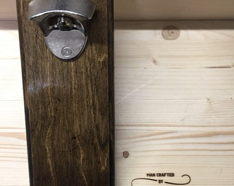 Wall mount bottle opener with magnetic catch for caps