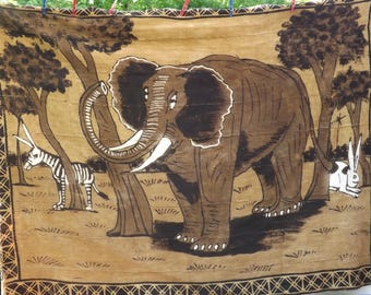 Wall hanging Kilim, authentic handmade African Mali hand elephant, Zebra rabbit tapestry Vintage brown/black mud cloth Bambara