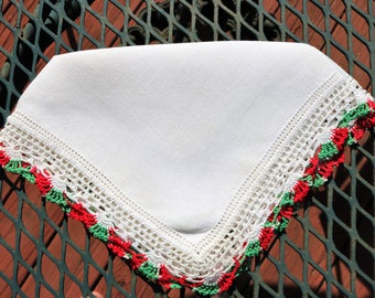 Vintage Christmas Hankerchief/ Red and Green Crochet Trim
