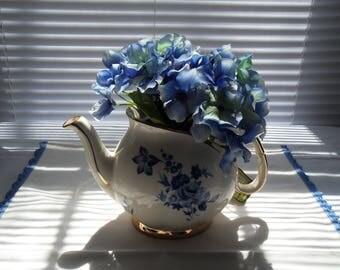 Gibson Teapot No Cover Teapot Vase Blue Flowers