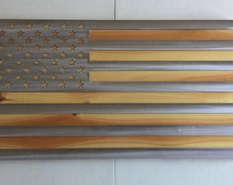 American flag with wood backer