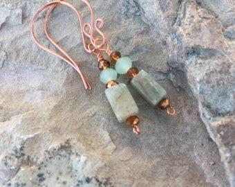 Copper and prehnite cube dangle earrings.