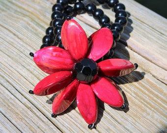 Big Red Flower Petals Bracelet Red and Black