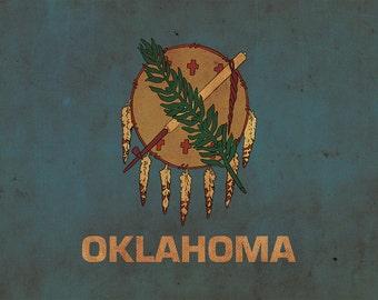 Vintage Oklahoma Flag on Canvas, Oklahoma, Flag, Wall Art, Oklahoma Photo, Oklahoma flag on canvas, Single or Multiple Panels Indiana flag