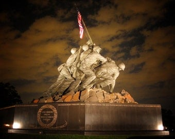 Iwo Jima Memorial at night Printed on Canvas, Large Iwo Jima Print, Iwo Jima wall art, Canvas gifts, art
