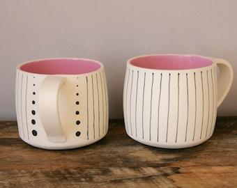 Pink, Black and Raw Porcelain Mug