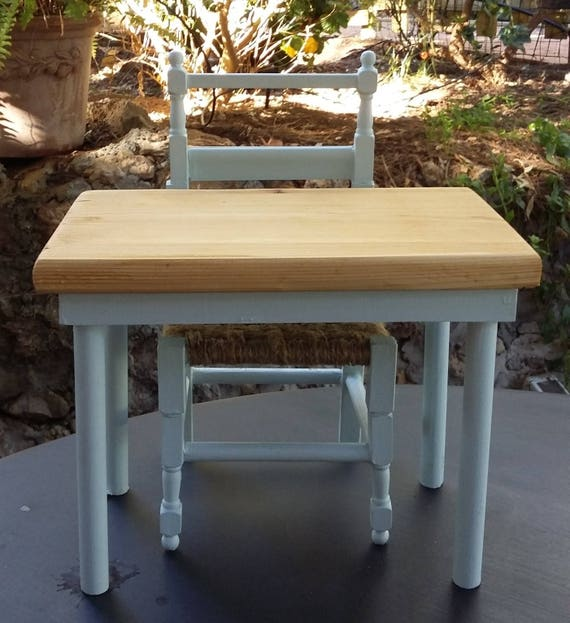 18 inch doll wooden table and chair
