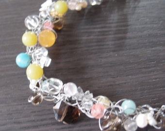 Crochet jewelry: necklace with lots of crystals like rainbow colored candies