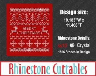 Christmas Sweater Rhinestone Cut File, SVG, EPS, DXF, Vector, Digital File