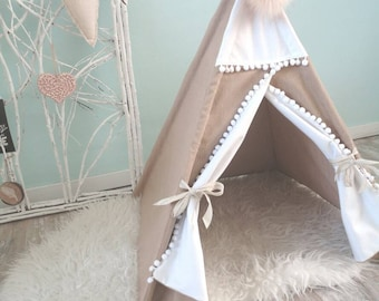 Tepee for your pet of Brown jeans. Cat or dog. Pet tipi. In different colour combinations. The Brown is ready to ship.