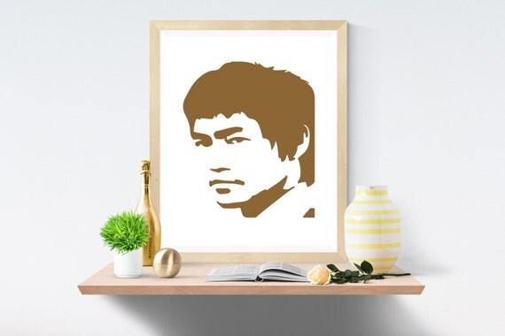Bruce Lee, Chocolate Brown, Brown Print, Chocolate Print, White Print, White Prints, Wall Art, Art Print, Printable Art, Wall Prints