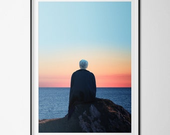 Poster / poster A3 - digital - photo-collage surrealism - woman - ocean - sunset