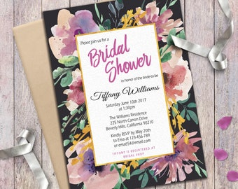 Bridal Shower invitation Floral Faux Gold Foil Gray White Digital Hand painted Watercolor invite Romantic Bridal Party Invitation Printable