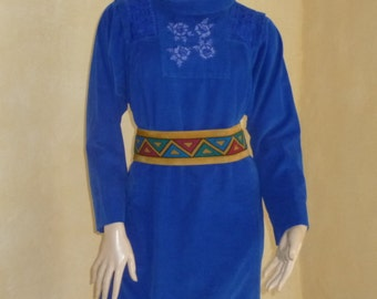 Blue dress with belt provided René DERHY cotton Velvet