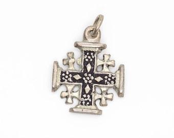 Jerusalem Sterling Silver Vintage Ornate Cross Pendant Charm, VJ #738