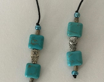 String Beaded Bookmarker teal