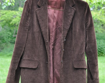 Union Made Vintage Jacket Ladies Size 12 Brown Corduroy USA Button* Free Domestic Shipping