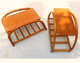 FREE SHIPPING 2 Rattan Side End Tables Vintage Pair Thick  Pretzel Tiki Moderne Hawaiiana South Pacific
