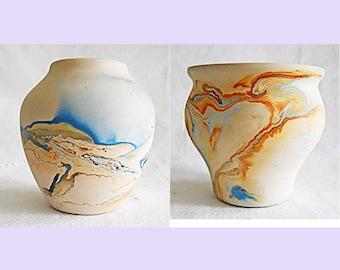 American Indian Nemadji USA Vintage Pottery Set 2 Pot Vessel Orange Brown Blue Signed Southwest Decor Native Art